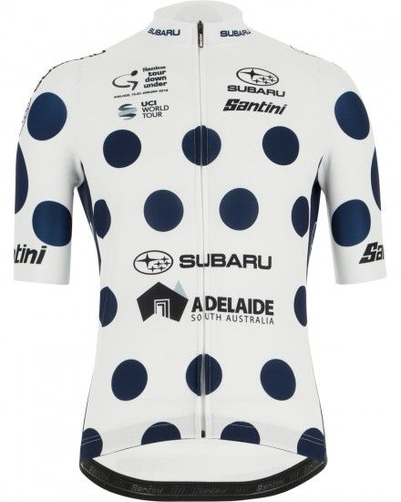Santini Tour Down Under 2019 King Of The Mountain Short Sleeve Cycling Jersey White/Blue