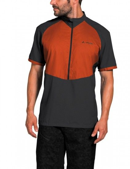 Vaude Men'S Emoab Shirt Short Sleeve Cycling Jersey Grey/Red (Paprika)