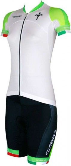 Wilier Certezza-Vizio3 Cycling Set For Ladies (Short Sleeve Jersey + Cycling Trousers) White/Green