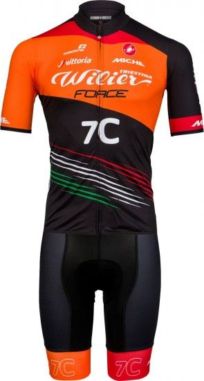 Castelli Wilier Force Squadra Corse 2018 Set (Jersey Long Zip + Strap Trousers) - Professional Cycling Team