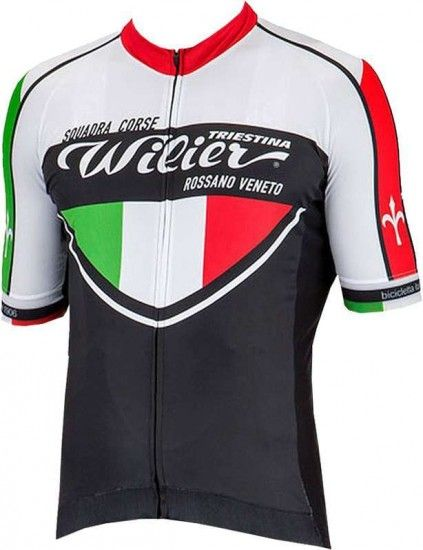 Wilier Squadra Corse Cycling Set (Short Sleeve Jersey + Cycling Strap Trousers) Black/White