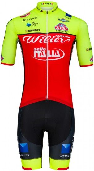 Pissei Wilier Triestina - Selle Italia 2018 Set (Jersey Long Zip + Strap Trousers) - Professional Cycling Team